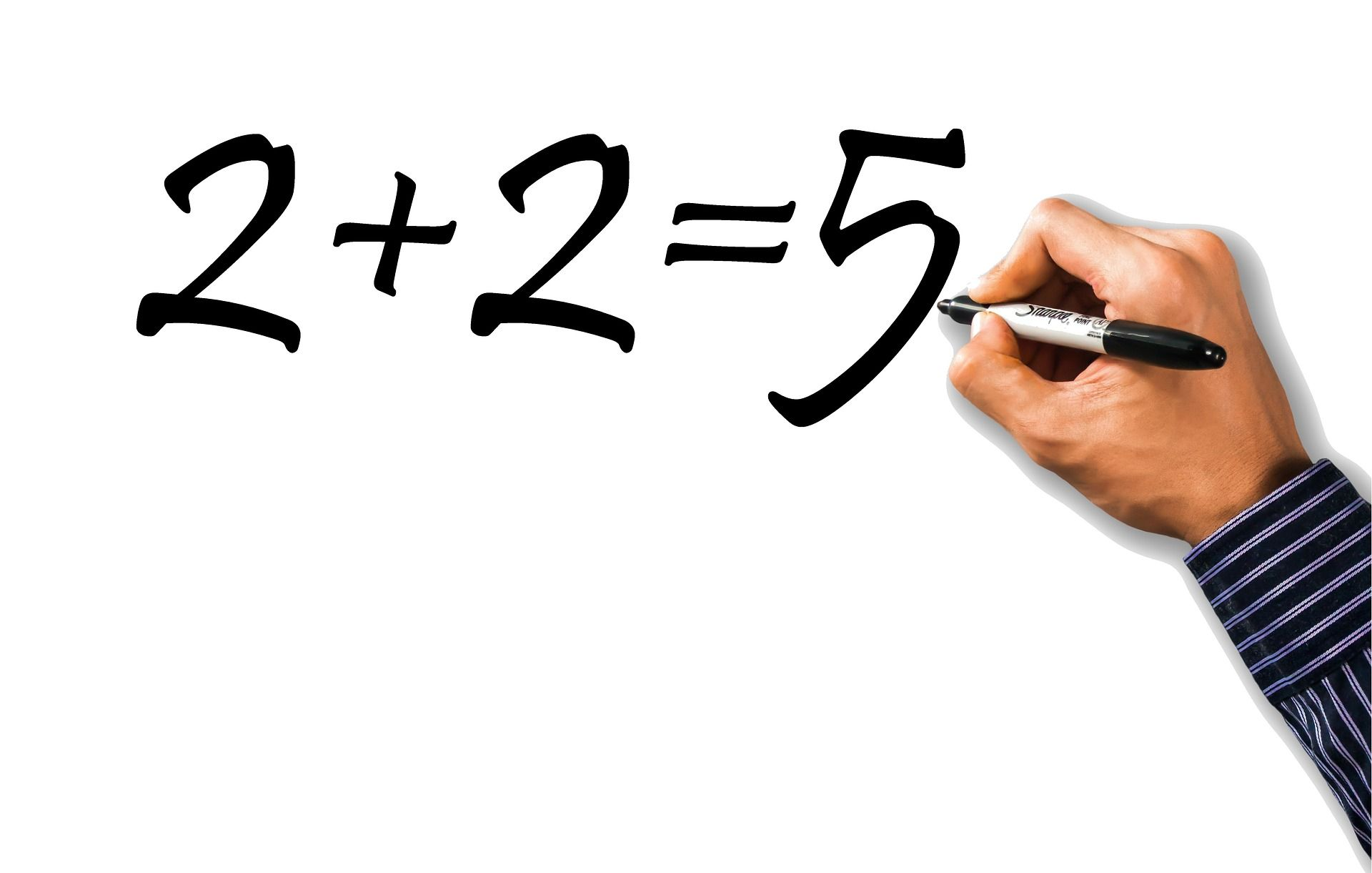 An illustration of someone writing the equation two plus two equals five.