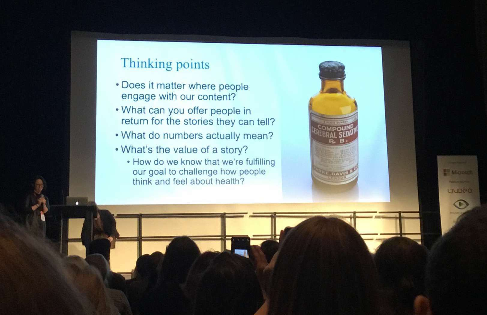 "A slide titled ""Thinking Points"" with a medicinal bottle. Text of the slide can be read is at the end of the post."